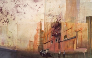 Staunton, 2013 Conte, ink, transparent gesso, oil paint on papers. 27 x 84 inches
