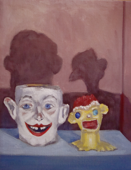 "Handsome Men (from the Objects of My Affection series) by Lin Price, oil on linen, 12"" x 14"""